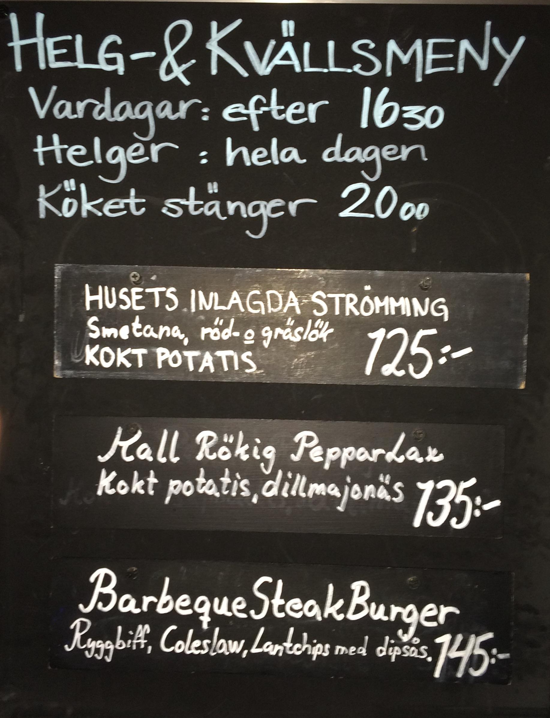 Weekend menu